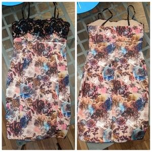 Mystic brand cocktail dress in floral roses